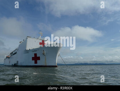 181119-N-GN619-1011 TURBO, Colombia (Nov. 19, 2018) – The hospital ship USNS Comfort (T-AH 20) is anchored off the coast of Colombia to offer medical treatment aboard the ship and at a land-based medical site. Comfort is on an 11-week medical support mission to Central and South America as part of U.S. Southern Command's Enduring Promise initiative. Working with health and government partners in Ecuador, Peru, Colombia and Honduras, the embarked medical team will provide care on board and at land-based medical sites, helping to relieve pressure on national medical systems caused partly by an i - Stock Photo