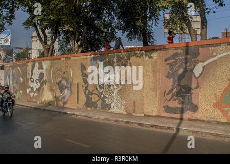 16-Dec-2007-mosaic venetian tiles Painting of Mahatma Gandhi ; Ahmedabad ; Gujarat ; India asia - Stock Photo