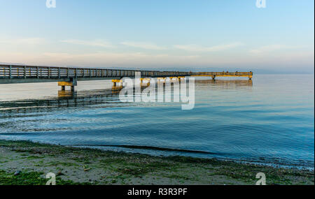 A view of the wooden pier in Dash Point, Washington. - Stock Photo