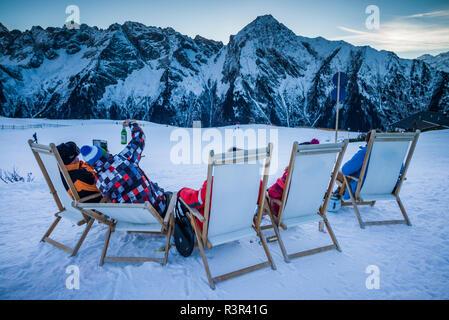 Austria, Tyrol, Zillertal, Mayrhofen, Ahornspitze Skiing Area - Stock Photo