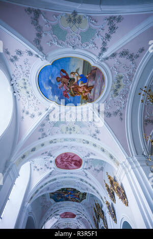 Austria, Tyrol, Stams, Stams Abbey interior - Stock Photo
