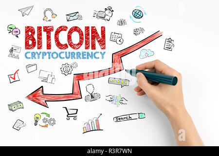Bitcoin price crash concept with icons. Financial and business background - Stock Photo