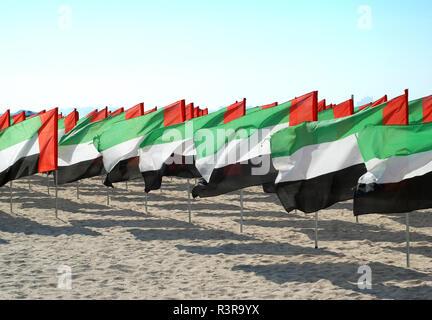 Many flags of United Arab Emirates to celebrate Anniversary UAE National Day. UAE celebration National Day on 2nd December every year - Stock Photo