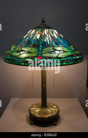 Tiffany lamps on display at the the Charles Hosmer Morse Museum, Winter Park, Florida, United States of America, North America - Stock Photo