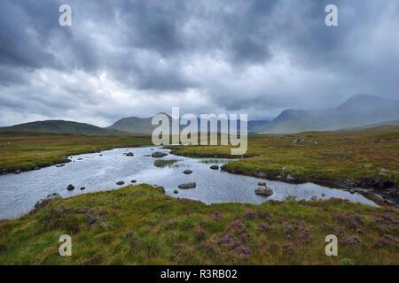 Great Britain, Scotland, Scottish Highlands, Glencoe, Rannoch Moor, Loch Ba and rain clouds