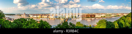 Hungary, Budapest, View over Pest from Buda, Panorama - Stock Photo