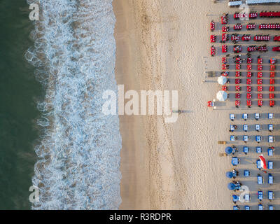Indonesia, Bali, Aerial view of Jimbaran beach, Restaurants at the beach, from above - Stock Photo