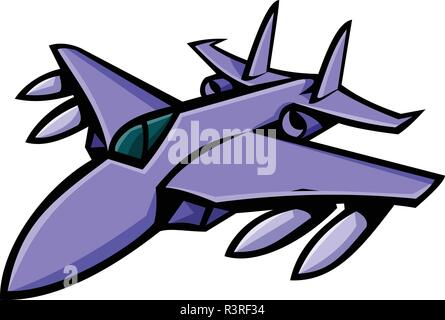 Mascot icon illustration of head of an American fighter jet in full flight viewed from front on isolated background in retro style. - Stock Photo