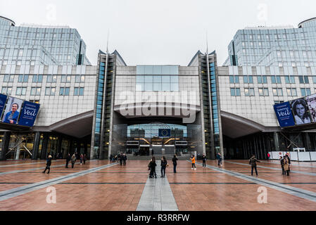 Square and building of the European Parliament in Brussels, Belgium in the rain. - Stock Photo