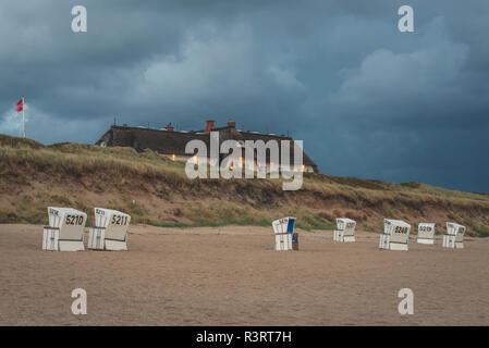 Germany, Schleswig-Holstein, Sylt, Rantum, house on West beach - Stock Photo