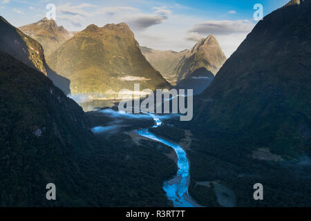 New Zealand, South Island, Fjordland National Park, Aerial view of Milford Sound