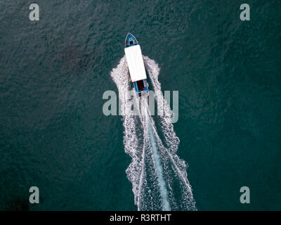 Indonesia, Bali, Aerial view of excursion boat - Stock Photo