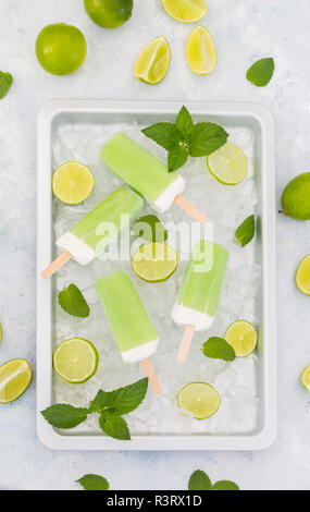 Lime mint popsicles, slices of limes and mint leaves on crushed ice - Stock Photo