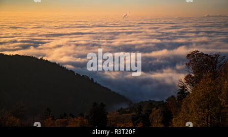 Sea of fog with low-hanging clouds in the Upper Rhine plain seen from the Königstuhl lookout point, Heidelberg, Baden-Wuerttemberg, Germany - Stock Photo