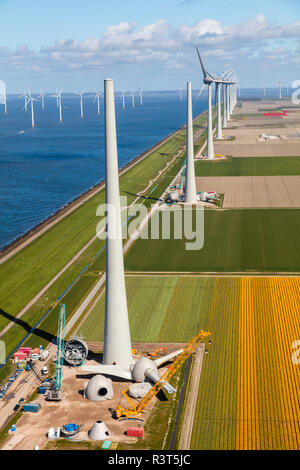 Aerial view of wind turbines under construction, North Holland, Netherlands - Stock Photo