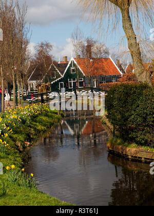 Netherlands, Zaandam, Traditional architecture in Zaanse Schans Museum - Stock Photo