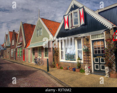 Netherlands, Monnickendam, Typically Dutch architecture in the historic city of Monnickendam - Stock Photo
