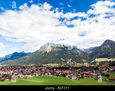 Germany, Bavaria, Swabia, Aerial view of Oberstdorf - Stock Photo