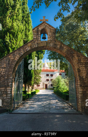 The entrance to Krka Monastery, Krka National Park, Dalmatia, Croatia - Stock Photo