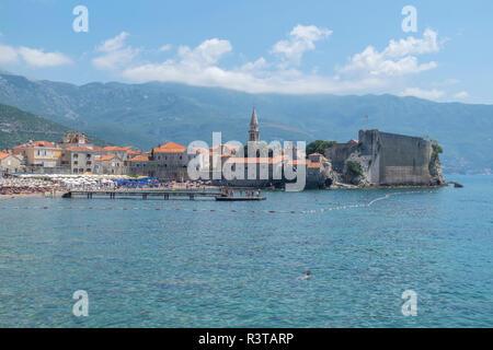 Slovenska Plaza, beach, Old Town, Adriatic Sea, Budva, Montenegro, Europe - Stock Photo