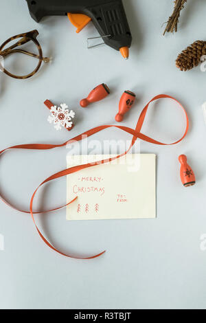 Writing Christmas cards - Stock Photo