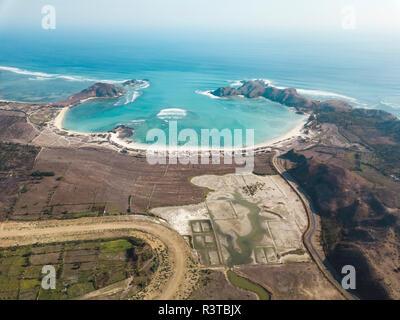 Indonesia, Lombok, Aerial view of Kuta Mandalika - Stock Photo