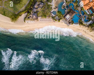 Indonesia, Bali, Nusa Dua, Aerial view of Nikko beach - Stock Photo