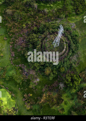Indonesia, Bali, Aerial view of power pylon - Stock Photo