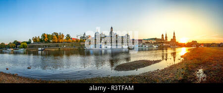Germany, Saxony, Dresden, city view and Elbe river during sunset, panorama - Stock Photo
