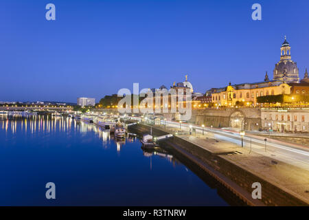 dresden bruehl terrace at the blue hour - Stock Photo