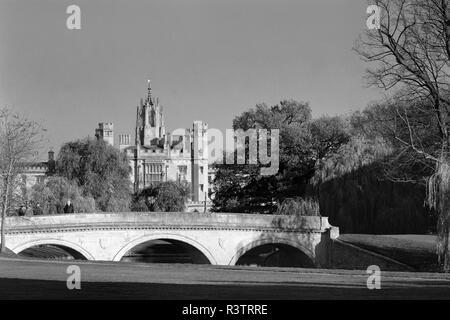 Trinity Bridge and St Johns College Cambridge England - Stock Photo