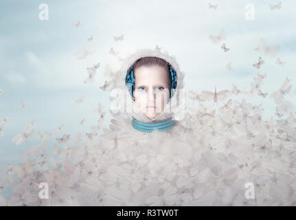 Fantasy. Futuristic Woman with Flying Butterflies - Stock Photo