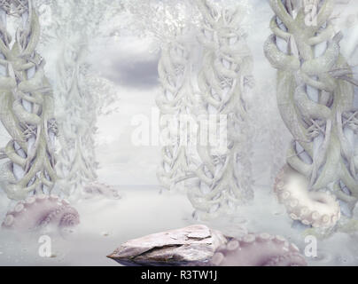 Mystery. Surrealistic Mysterious White Forest - Stock Photo