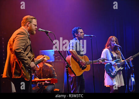 The Lone Bellow band playing at Mareel in the Shetland Isles Scotland - Stock Photo