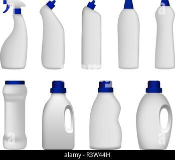 Detergent bottle cleaning powder washing mockup set. Realistic illustration of 9 detergent bottle cleaning powder washing mockups for web - Stock Photo