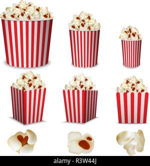 Popcorn cinema box striped mockup set. Realistic illustration of 9 popcorn cinema box striped mockups for web - Stock Photo