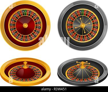 Roulette wheel fortune spin game mockup set. Realistic illustration of 4 roulette wheel fortune spin game mockups for web - Stock Photo