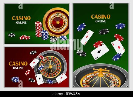 Roulette wheel fortune spin game banner concept set. Realistic illustration of 3 roulette wheel fortune spin game banner horizontal concepts for web - Stock Photo
