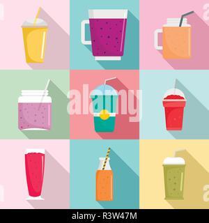 Smoothie milkshake fruit juice icons set. Flat illustration of 9 smoothie milkshake fruit juice vector icons for web - Stock Photo