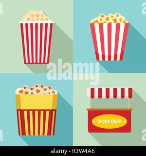 Popcorn cinema box striped icons set. Flat illustration of 4 popcorn cinema box striped vector icons for web - Stock Photo