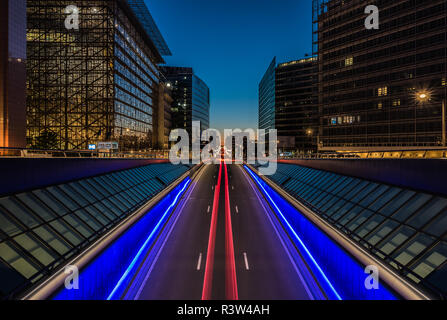View over the Rue de la Loi, the European Quarter, office buildings from the Schuman roundabout in Brussels, Belgium - Stock Photo
