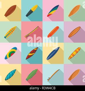 Surfboard surf board icons set. Flat illustration of 16 surfboard surf board vector icons for web - Stock Photo