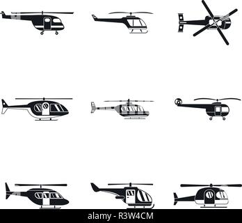 Helicopter military aircraft chopper icons set. Simple illustration of 9 helicopter military aircraft chopper vector icons for web - Stock Photo