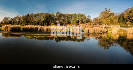 Colorful autumn view over the panoramic Stuyvenberg gardens in Laeken, Brussels, Belgium - Stock Photo