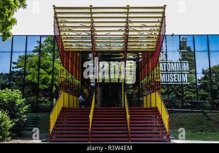 The colorful facade of the Art Design Atomium museum in Laeken, Brussels, Belgium - Stock Photo
