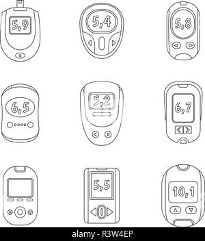Glucose meter sugar blood test device icons set. Outline illustration of 9 glucose meter sugar blood test device vector icons for web - Stock Photo