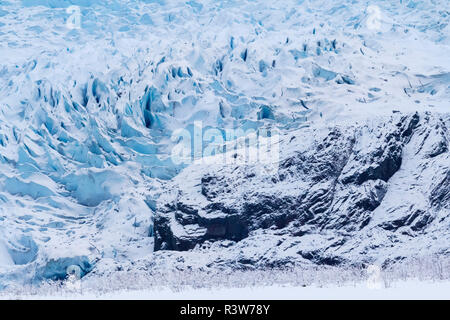 USA, Alaska. Close-up view of the face of Mendenhall Glacier in winter. - Stock Photo