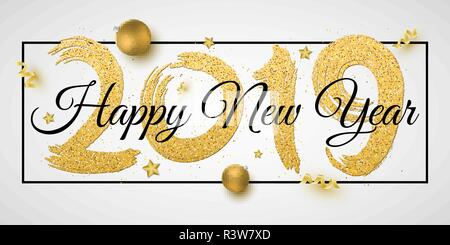 Banner for Happy New Year 2019. Numbers of golden glitters with black text in frame. Brush in grunge style. Christmas golden balls, stars, confetti an - Stock Photo