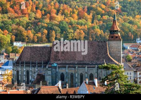 Romania, Brasov, Council Square, Piata Sfatului, Brasov Black Church. - Stock Photo