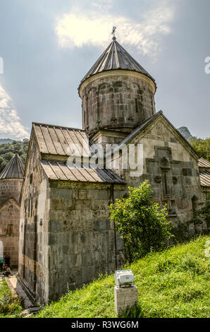 Dilijan, Armenia, August 24, 2018: View from the back of the Church of the Blessed Holy Mother located in the monastery of  Haghartsin near Dilijan - Stock Photo